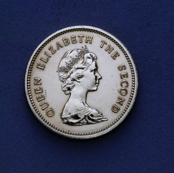 50 cents coin, 1980, obverse, portrait of queen Elizabeth II (1926-), Hong Kong, 20th century