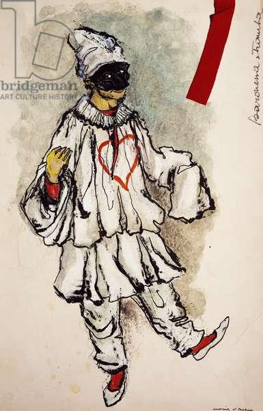 Costume sketch by D'Andrea for Pulcinella in La Baronessa Stramba (The Odd Baroness), 1776, opera by Domenico Cimarosa (1749-1801)