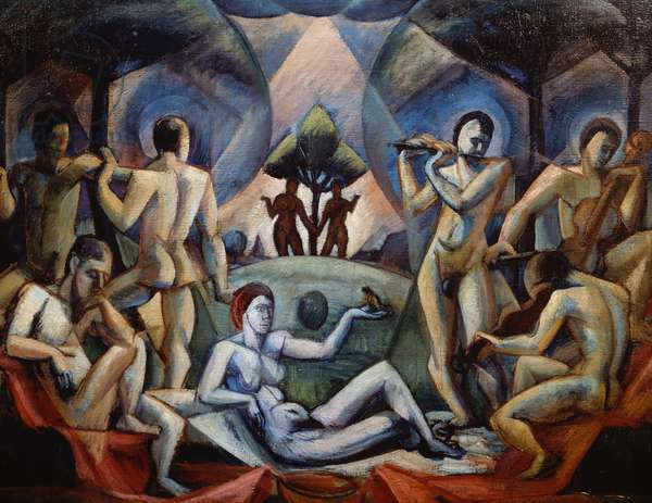 The concert, 1918, by Janos Kmetty (1889-1975), oil on canvas. Hungary, 20th century.