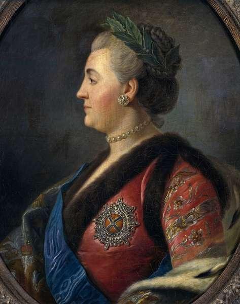 Portrait of Catherine II (1729-1796), Empress of Russia, oil on canvas by Pietro Antonio Rotari, 67x63 cm
