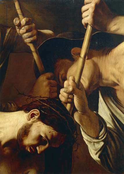 Face of Christ, The Crowning with Thorns, c.1603 (oil on canvas) (detail of 507206)