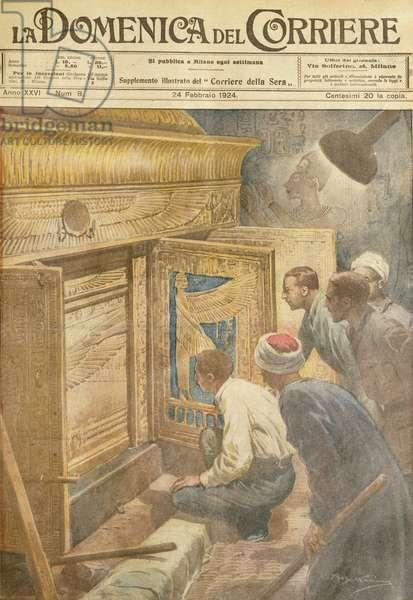 Discovery of Tutankhamen's tomb, by Achille Beltrame, illustration, Illustrator Achille Beltrame (1871-1945), from La Domenica del Corriere, 24th February 1924
