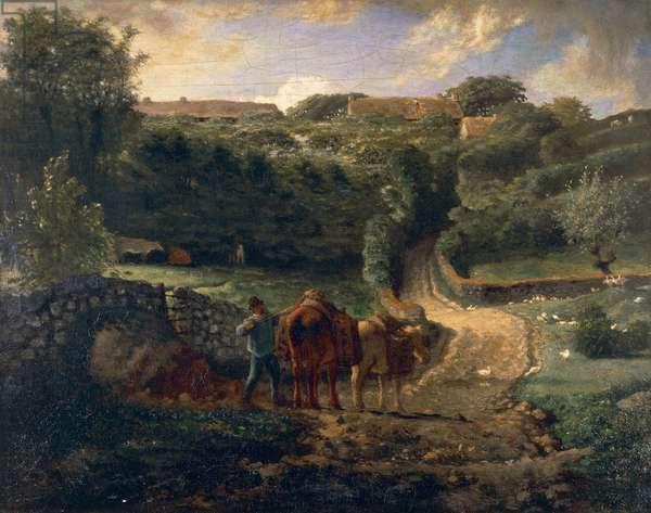 The Cousin Hamlet at Greville (The Cousin hameau a Greville), by Jean-Francois Millet (1814-1875).