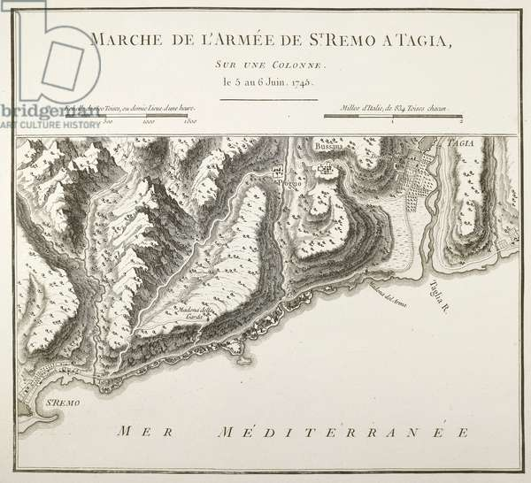 Coast between San Remo and Taggia, Liguria Region, French map drawn during the War of the Austrian Succession of 1746, Paris, Copper engraving, 1775