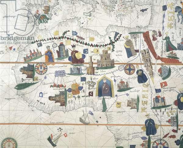Detail of Africa and Mediterranean Basin, by Juan de la Cosa, marine chart, 16th century