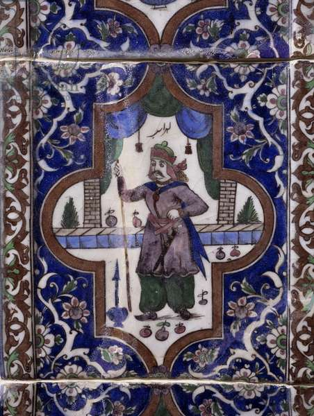 Decoration depicting soldier of royal guard, glazed and painted ceramic, Iran, 19th century