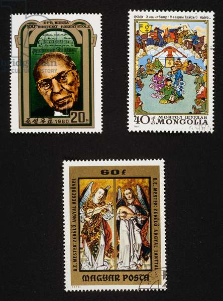 Postage stamp with composer Robert Stolz, postage stamp honoring national holidays and angel musicians, North Korea, Mongolia and Hungary, 20th century