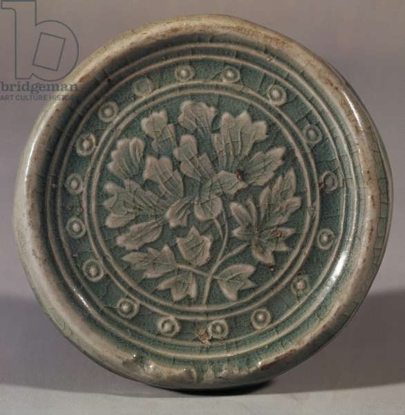 Disc for roof decoration with peonies in relief, celadon ceramics, Korea, Korean Civilisation, 12th century