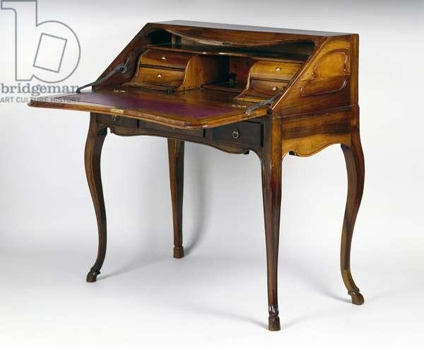 Louis XV style walnut and plum wood bureau a dos d'ane (slant front writing desk), France, 18th century