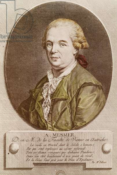 Portrait of Franz Anton Mesmer (Moos, 1734-Meersburg, 1815), German doctor, mesmerism theorist and proponent of animal magnetism theory, engraving