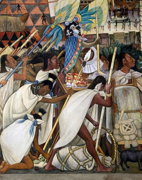 Procession, Totonaca civilisation, by Diego Rivera (1886-1957), detail from the National Palace frescoes, Mexico City. Mexico, 20th century.