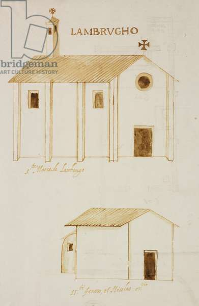 Elevation of church of Saint Mary, elevation of Oratory of Saints Genesius and Nicolaus, Lambrugho (Lambrugo), parish of Incino Erba, designed on occasion of visit of Carlo Borromeo, about 1574, Italy, 16th century