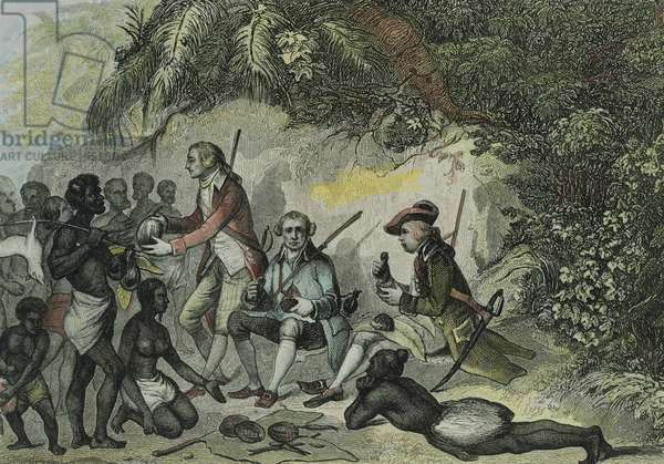 James Cook meets the Tahitians, engraving, 18th Century.