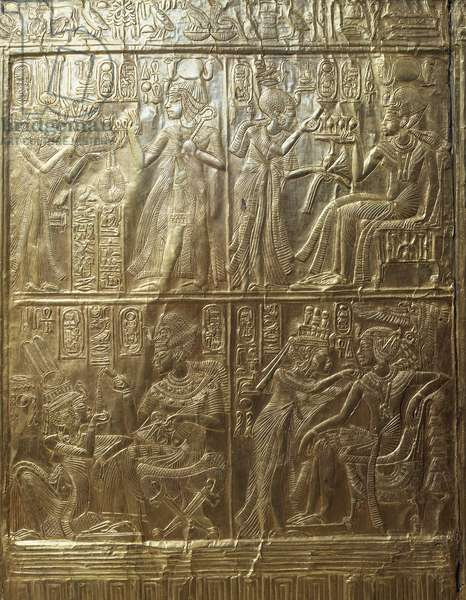 Ritual casket, model of sanctuary of goddess Nekhbet, decorated in bas-relief with scenes from life of king, carved wood and gold, from Tomb of Tutankhamun, detail, Egyptian Civilisation, Middle Kingdom, Dynasty XVIII