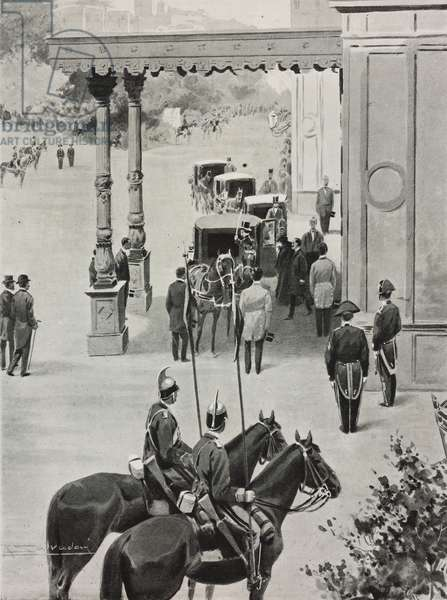 King Vittorio Emanuele III and Queen Elena arriving in Monza, Lombardy, Italy, drawing by R Salvadori, from L'Illustrazione Italiana, Year XXVII, No 32, August 12, 1900