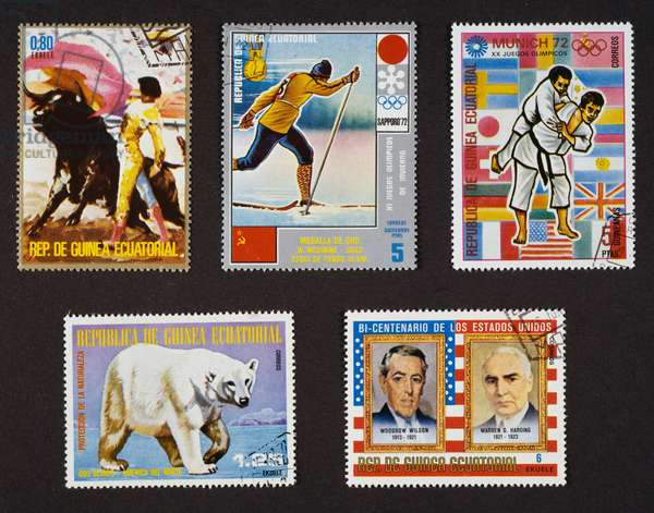 From left to right and from top to bottom: Postage stamp from series honoring Bullfighting, 1975, depicting bullfighter and bull, Postage stamp from series commemorating Winter Olympics in Sapporo, 1972, Russian victory in cross-country skiing