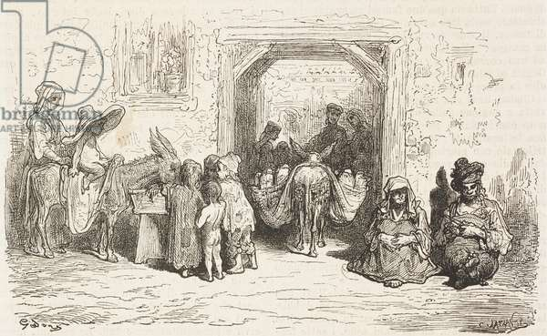 Scene of everyday life in Valdepenas street, Castile-La Mancha, Spain, drawing by Dore, from Travels in Spain by Gustave Dore (1832-1883) and Jean Charles Davillier (1823-1883)