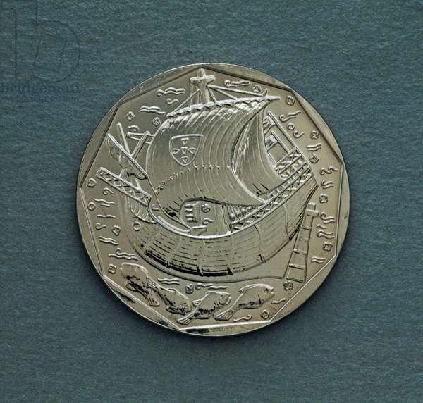50 escudos coin, 1992, obverse, caravel, Portugal, 20th century