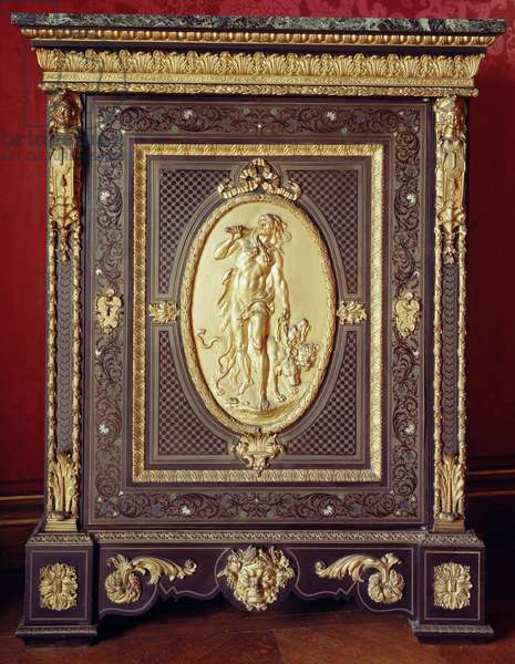 Low cupboard with encrustations and bas-relief depicting Hercules and Cerberus in the oval plaque, by Guillaume Grohe, before 1846, France, 19th century