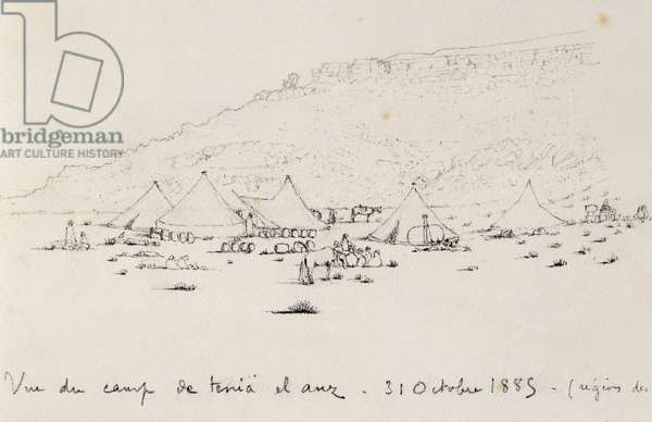 Campsite at Tenia el Anz, Fey region, October 31, 1885, drawing by Charles Eugene de Foucauld (1858-1916) from Voyage to southern Algeria and southern Tunisia, 1885-1886, Africa, 19th century