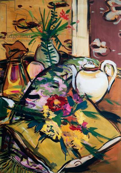 Still life with teapot and flowers, 1935 (tempera on cardboard)