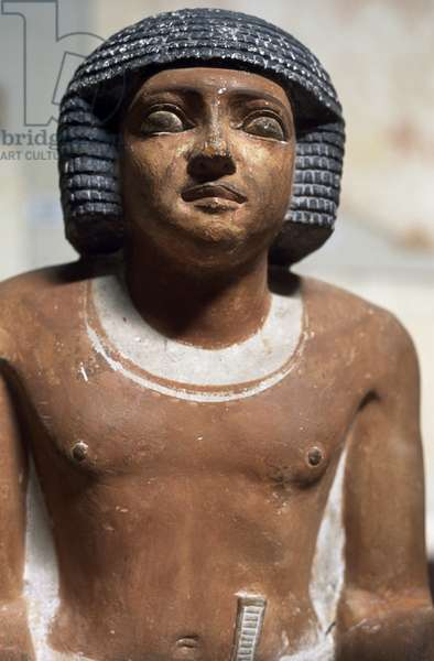 Male figure, Painted limestone statue, Egyptian civilization, Detail
