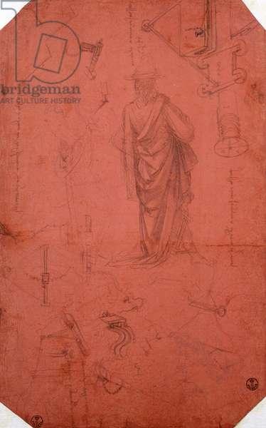 Draped male figure, profiles, gears for flying machine, by Leonardo da Vinci (1452-1519), drawing 447E front