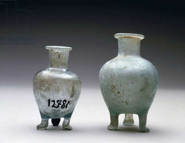 Pair of light blue glass balm-pots, from Pompei