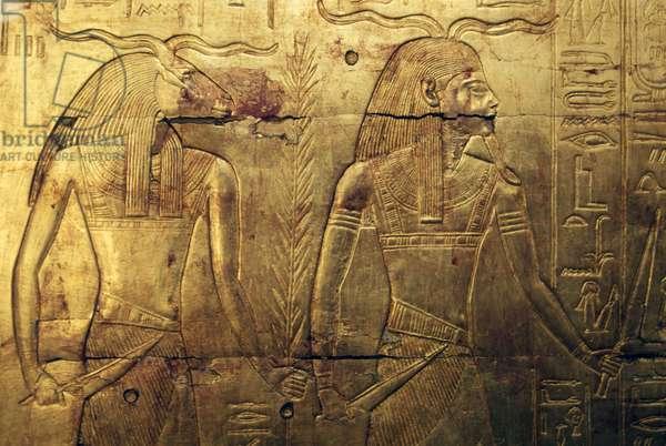 Deities, engraving on rear panel of third burial chapel covered in gold, Treasury of Tutankhamun, Egypt, Egyptian civilization, New Kingdom, Dynasty XVIII