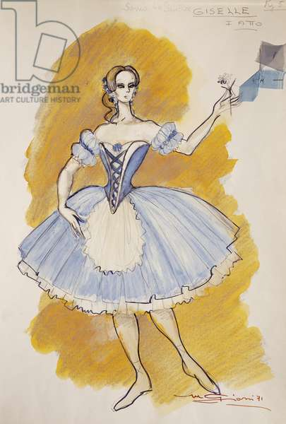 Costume sketch by Giarri for Giselle, first act of homonymous opera by Adolphe Charles Adam, 1971