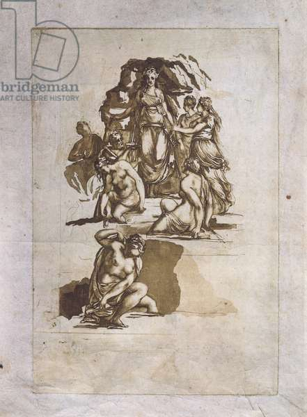 Allegory, 1775-1795, attributed to Andrea Appiani (1754-1817) aquatint on paper, 44x31 cm, Italy, 18th century