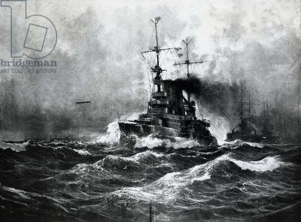 German fleet after Battle of Jutland, 1916, illustration from Leipzig Illustrated Magazine, Leipzig, First World War, Germany, 20th century