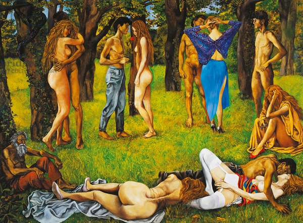 The forest of love, 1984, by Renato Guttuso (1911-1987), oil on canvas. Italy, 20th century.