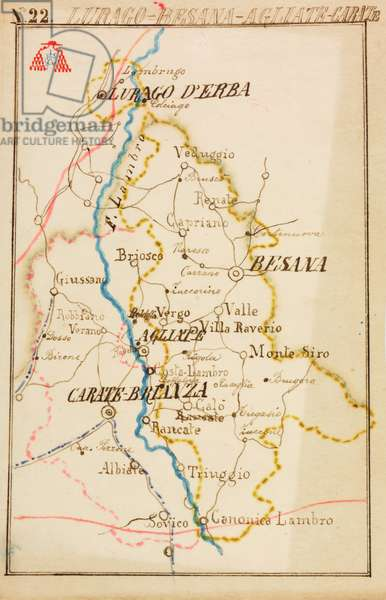Parishes of Lurago, Besana Brianza, Agliate, Carate Brianza, on occasion of pastoral visit of Cardinal Andrea Carlo Ferrari, 1895-1897, planimetry with Lambro River, tramway indicated by blue dotted line, railway in red, Italy, 19th century