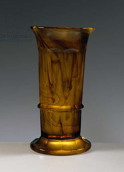 Amber glass vase, Cloud Glass series, ca 1920, George Davidson and Co glassworks, Gateshead-on-Tyne, England, UK, 20th century