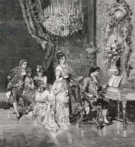 Giovanni Paisiello and Catherine II of Russia, drawing by Edoardo Matania, engraving from L'Illustrazione Italiana, No 39, September 25, 1881