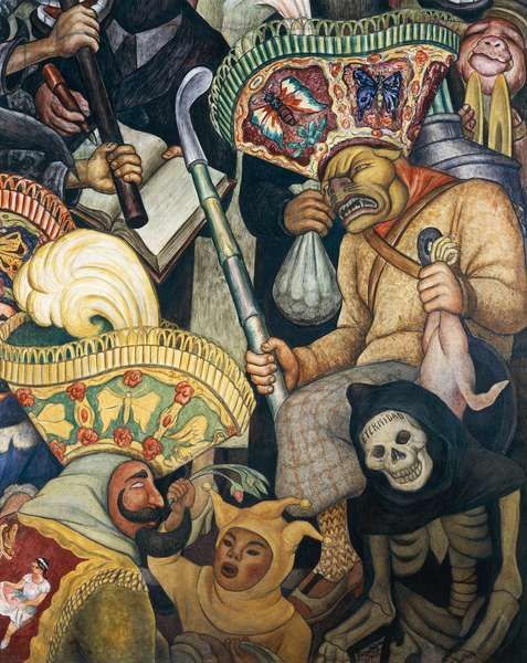 The Carnival of Huejotzingo, fresco, by Diego Rivera (1866-1957) for the Hotel Reforma in Mexico City. Mexico, 20th century. Detail.