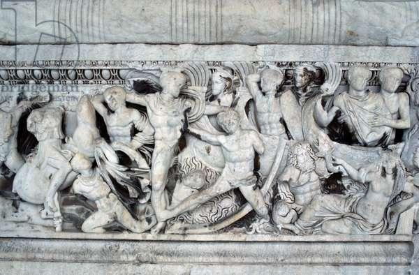 Battle at ships in Trojan war, relief on sarcophagus, Thessaloniki, Greece, Roman civilization