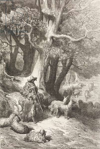 Shepherd with his sheep in Extremadura, Spain, drawing by Dore, from Travels in Spain by Gustave Dore (1832-1883) and Jean Charles Davillier (1823-1883)