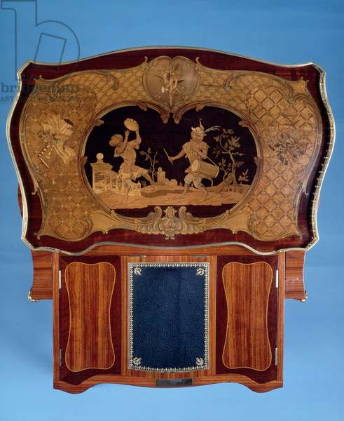 Louis XV style inlaid table with pull out shelf, 1850, by Louis-Auguste-Alfred Beurdeley (1808-1882), seen from above, France, 19th century