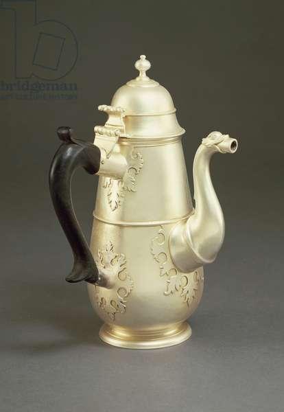 Silver coffeepot with ebony handle