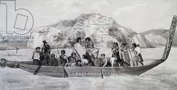 Indigenous New Zealanders on pirogue with fortified village in background, April 10, 1824, watercolour by Jules-Louis Lejeune, based on Voyage around world, from 1822-1825, by Louis Isidore Duperrey (1786-1865), New Zealand, 19th century