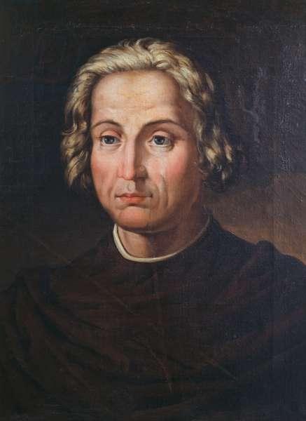 Portrait of Christopher Columbus (1451-1506), Italian explorer and navigator, painting by Valeriano Dominguez Becquer (1833-1870)