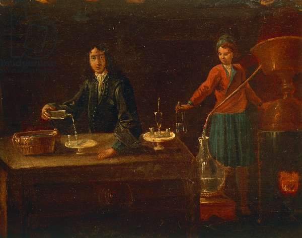 The chemist's laboratory, painting, Italy, 18th century
