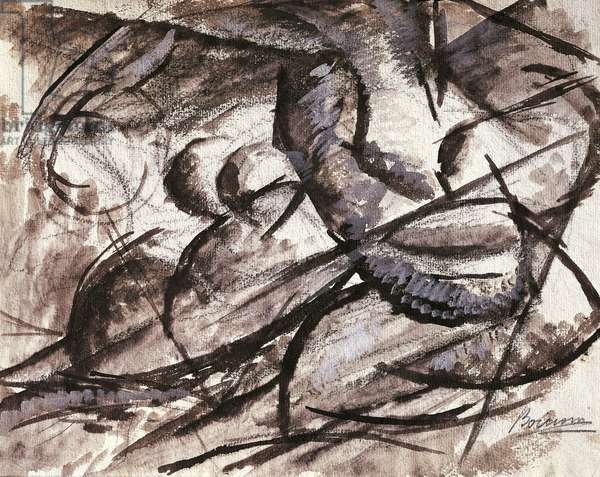 Dynamism by Umberto Boccioni (1882-1916), charcoal, ink, tempera and watercolor