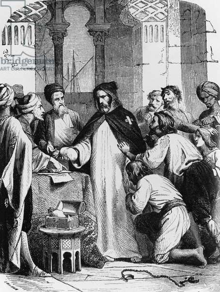 Redemption Fathers, monk buying slaves to set them free, illustration for Genius of Christianity, by Francois-Rene, vicomte de Chateaubriand (1768-1848), engraving by Felix Henri Emmanuel Philippoteaux (1815-1884), published by Bechet, 1859, Paris
