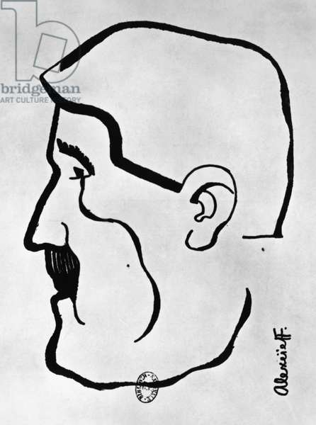 Portrait of Guillaume Apollinaire (Rome, 1880-Paris, 1918), pseudonym of Wilhelm Apollinaris Kostrowitzky, French poet and essayist, drawing by Alexandrovitch Alexeieff (1901-1982)