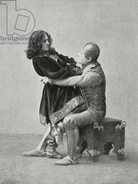 Malatestino dall'Occhio and Gianciotto, characters of Francesca da Rimini, tragedy by Gabriele D'Annunzio (1863-1938), photo by Alinari, from L'illustrazione Italiana, Year XXIX, No 12, March 23, 1902