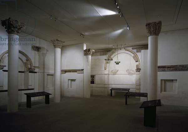 Reconstruction of church in Bawiti, nave, Musee du Louvre, Paris, Coptic civilization, 6th century