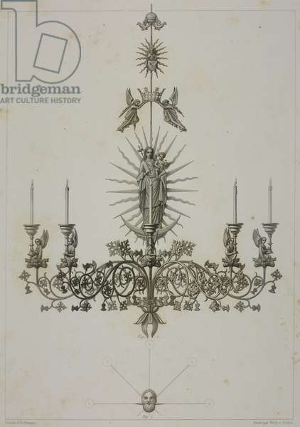Candelabra depicting Virgin hanging in church in Kempen, Germany, drawing by Hoffmann, engraving by J Bury and Jean-Joseph Sulpis (1826-1911)